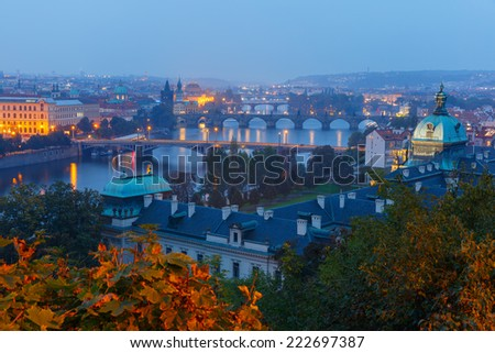 Aerial view over Old Town and bridges over the Vltava River in Prague, Czech Republic - stock photo
