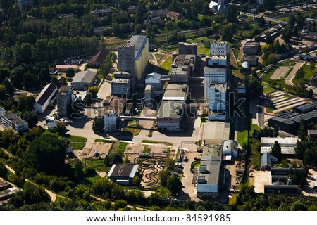aerial view over Riga suburb - stock photo