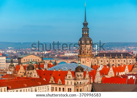 Aerial view over Royal Palace and roofs of old Dresden, Saxony, Germany - stock photo