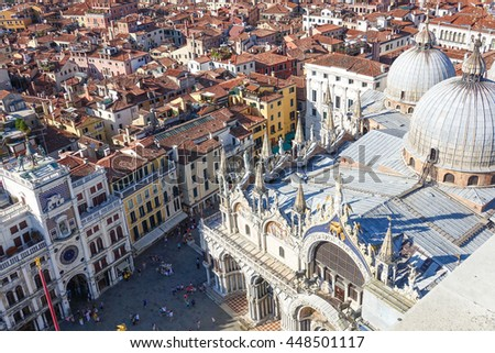 Aerial view over St Mark s square and Basilica San Marco in Venice - stock photo