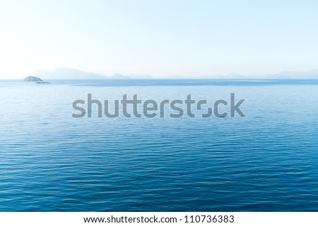 Aerial view over the Aegean sea near Hydra island, Greece - stock photo