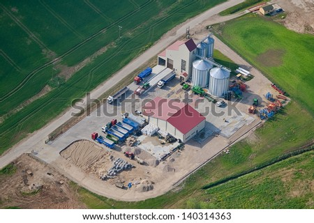 aerial view over the factory - stock photo