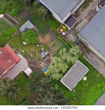 aerial view over the house courtyard - stock photo