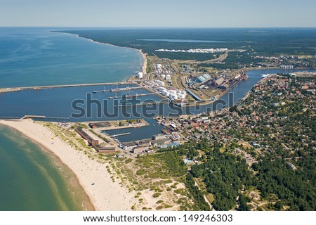 aerial view over the industrial port - stock photo