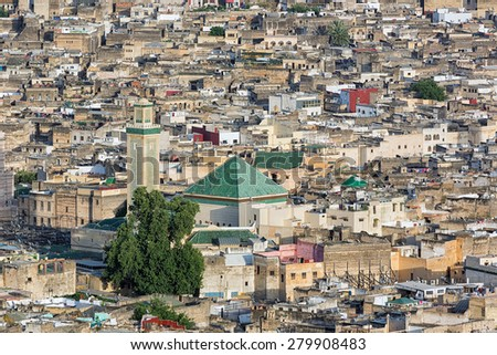 Aerial view over the medina in Fes, Morocco. - stock photo