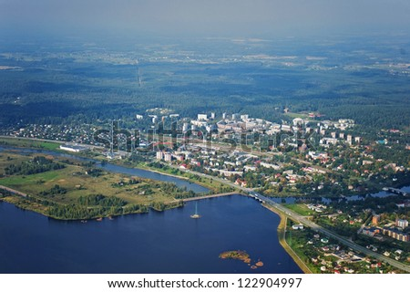 Aerial view over the Ogre town - stock photo