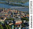 Aerial view over the Old Riga City - stock photo