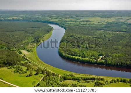 Aerial view over the river Daugava - stock photo