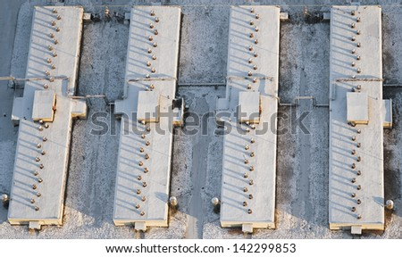aerial view over the roofs - stock photo