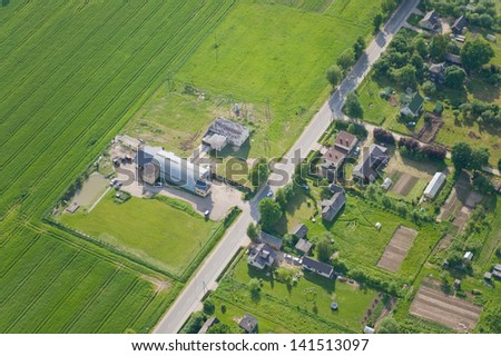 aerial view over the town - stock photo