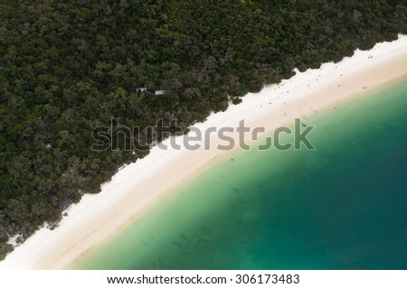 Aerial view over Whitehaven Beach, famous for its pure white silica sand, Whitsunday Islands, Australia - stock photo