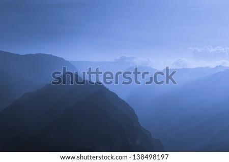 Aerial view overlooking Waimea Canyon State Park, Kauai, Hawaii, USA - stock photo