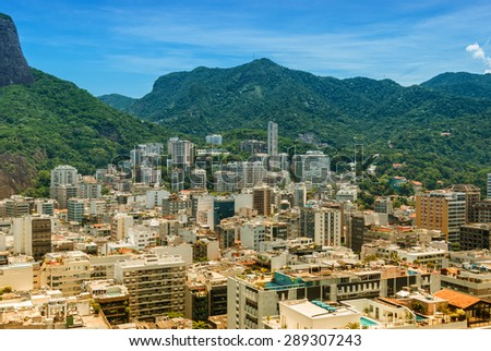 Aerial view Rio de Janeiro Brasil famous tourism travel destination  Beautiful brasilian coastline of Rio, city for the olympic games 2016. Image is filtered for vintage effect - stock photo
