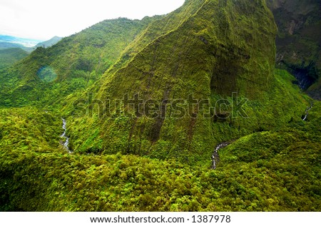 Aerial view river on Kauai Hawaii. More with keyword Series001A. - stock photo