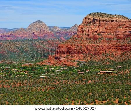 Aerial view Sedona Arizona red rock country - stock photo