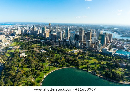 Aerial view Sydney Central Business District and Royal Botanic Gardens. View on Sydney harbourside suburbs from above. Aerial view on Sydney harbourside, Sydney CBD, Sydney Royal Botanic Gardens - stock photo
