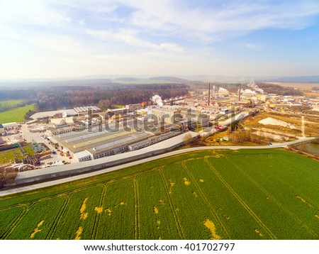 Aerial view to agricultural landscape with industrial zone near Pilsen city in Czech Republic, Europe.  - stock photo