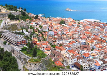 Aerial view to an old fortress and traditional architecture of Nafplio old town, Greece - stock photo