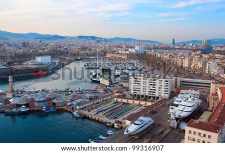 Aerial view to Barceloneta water square in Barcelona,Spain - stock photo
