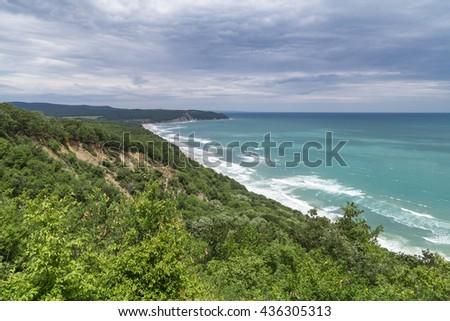 Aerial view to beautiful coastline - stock photo