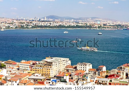 Aerial view to Bosphorus, Istanbul. Looking over Karakoy Port to straits - stock photo