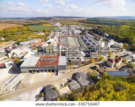 Aerial view to industrial zone and technology park near Pilsen city in Czech Republic, Europe. - stock photo