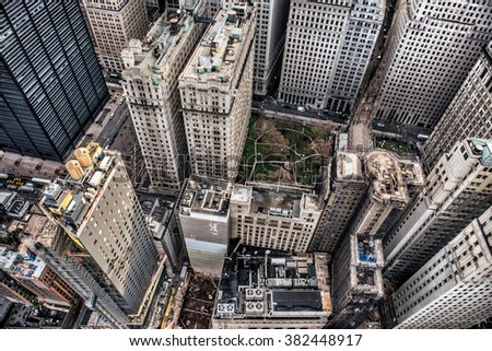 Aerial view to Manhattan skyscrapers in Downtown financial district - stock photo