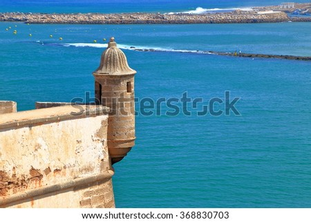 Aerial view to River Bou Regreg and Atlantic ocean behind the walls of the Kasbah of the Udayas in Rabat, Morocco - stock photo