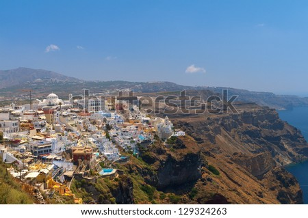 Aerial view to the amazing Thira. Santorini, Greece. - stock photo