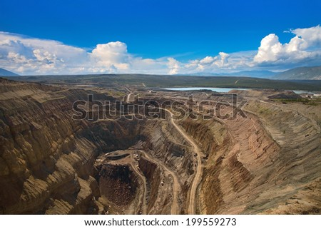 Aerial view to the diamond open mine in Aikhal town, Sakha Yakutia, north of Russia  - stock photo