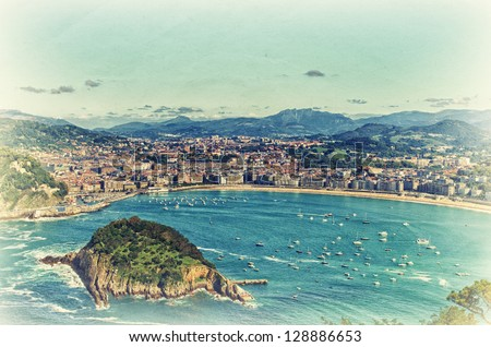 Aerial view to the San Sebastian. Retro style artistic photo. - stock photo