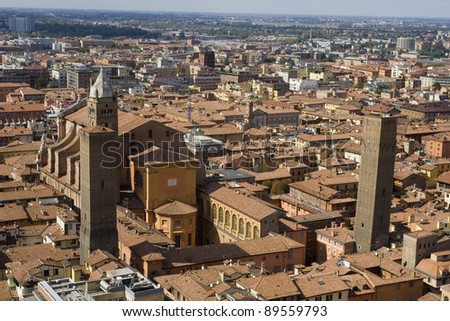 Aerial view, towers in Bologna, Italy - stock photo