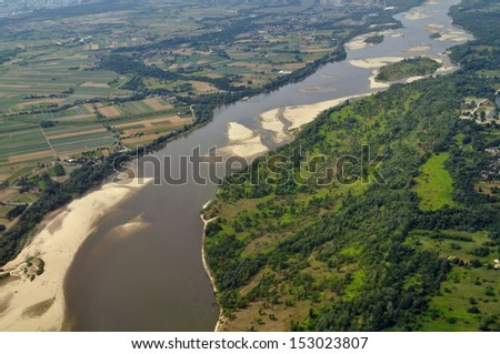 Aerial view - Vistula River near Warsaw, Poland - stock photo