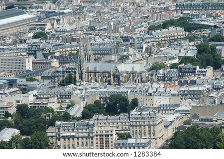 Aerial view, with Notredame Catedral in the center - stock photo