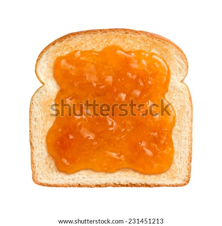 Aerial vtew of Apricot Preserves on a single slice of lightly toasted white bread. Isolated on white. - stock photo
