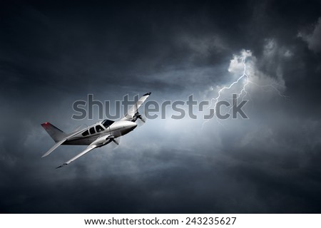 Aeroplane flying in storm with lightning (Concept of risk - digital artwork) - stock photo