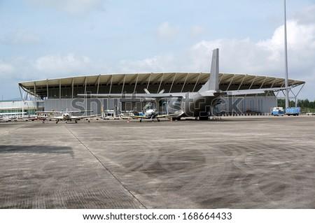 aeroplane hangar - stock photo