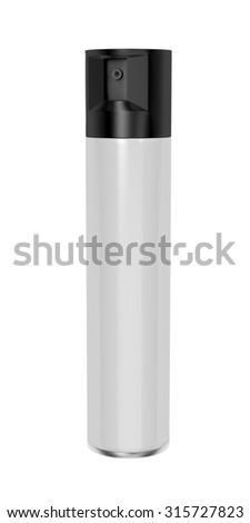 Aerosol spray can isolated on white - stock photo