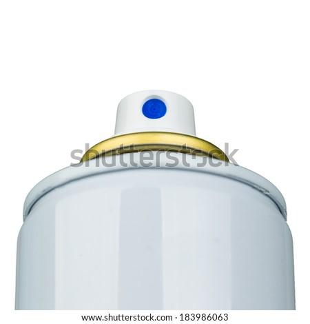 Aerosol valve actuator macro shot isolated on white - stock photo