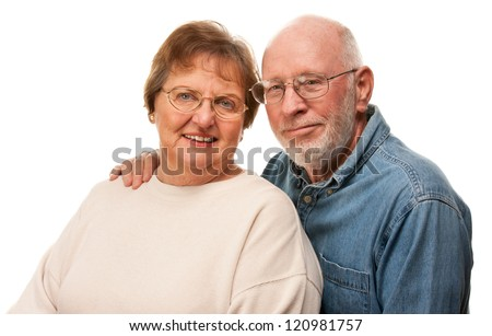 Affectionate Happy Senior Couple Pose For A Portrait. - stock photo