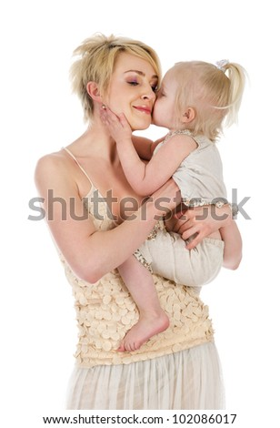 Affectionate Mother And Daughter. isolated on white background - stock photo