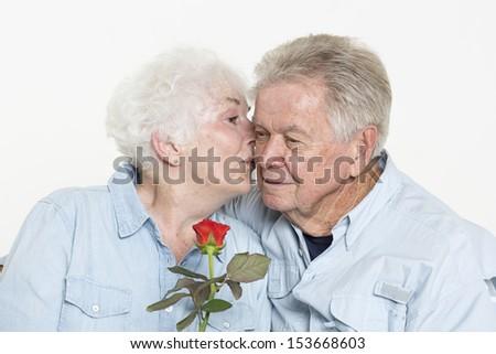 Affectionate senior couple - stock photo