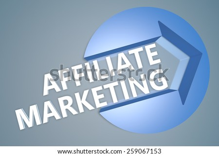 Affiliate Marketing - text 3d render illustration concept with a arrow in a circle on blue-grey background - stock photo