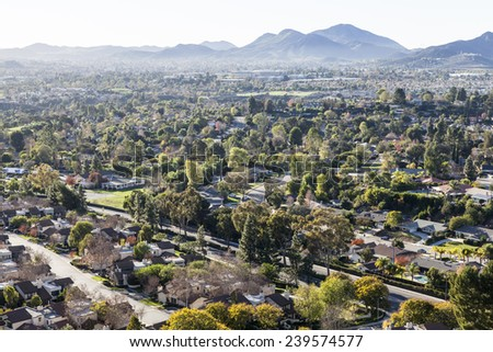 Affluent bedroom community suburbia in Thousand Oaks and Newbury Park near Los Angeles, California. - stock photo