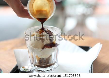 Affogato coffee with ice cream - stock photo
