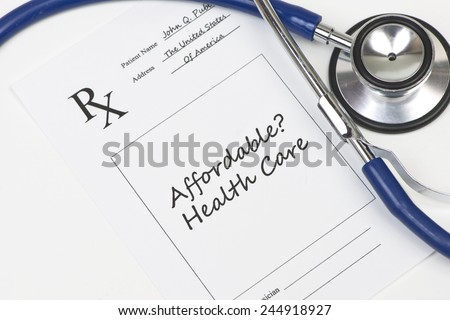 Affordable health care prescription stethoscope. - stock photo