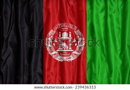 Afghanistan flag pattern on the fabric texture ,vintage style - stock photo
