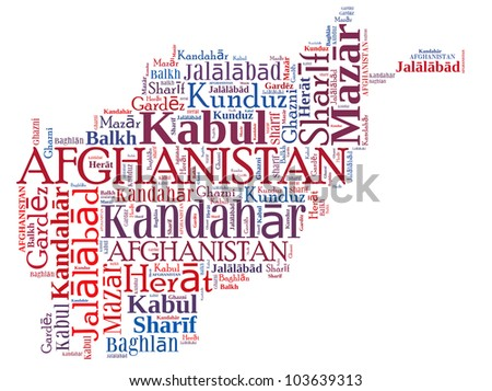 Afghanistan map and words cloud with larger cities - stock photo