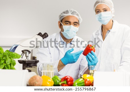 aFood scientists looking at a pepper t the university - stock photo