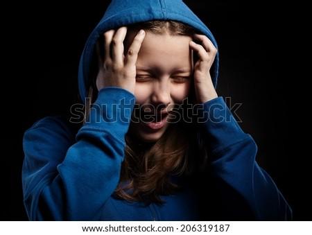 Afraided teen girl screaming - stock photo